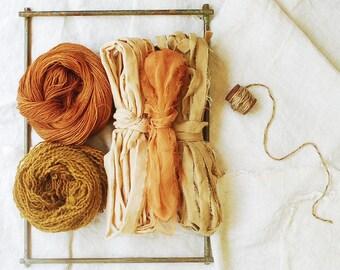 Weaver's Pack, Frame Loom Weaving Kit, Natural Dye, Fiber Bundle, Wool, Silk, Botanical Dye, Materials + Loom