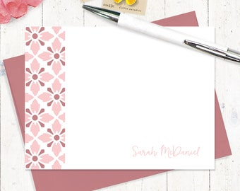 personalized stationery set - VINTAGE MODERN WALLPAPER - set of 12 flat note cards - personalized stationary - stationery for girls