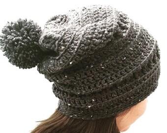 Dark Gray Crochet Slouchy Hat with Pom Pom