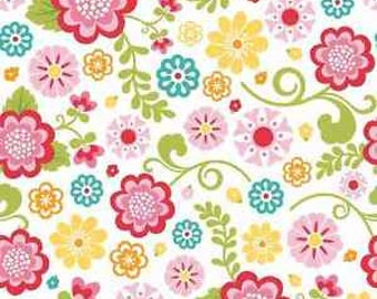 By The HALF Yard - FLANNEL - Fancy Free by Lori Whitlock for Riley Blake, #F4060 Floral Main, Flowers in red, yellow, aqua, pinks on white
