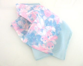 Nylon Scarf Pastel Pink & Blue Flowers Vintage 26 Inches Square