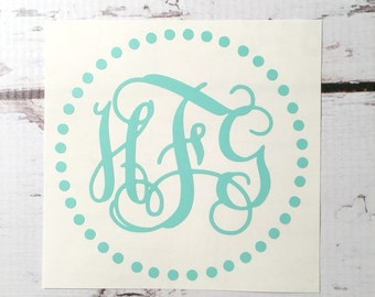 Vine Font Three Initial Monogram Vinyl Decal Circle Dots Border with Initials Monogram Decal