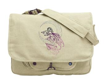 Lunar Fae Embroidered Canvas Messenger Bag