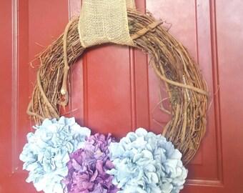 CHARMING! 18 inch Purple and Sky Blue Hydrangea Wreath