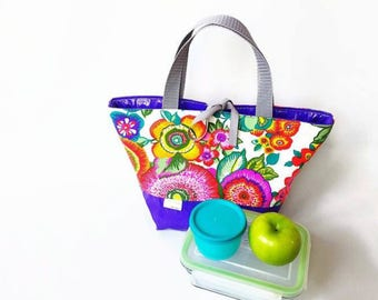 Lunch, insulated, waterproof, lunch bag, floral, colorful flowers, purple, glitter, lunch bag, lunch time, insulated bag, spring