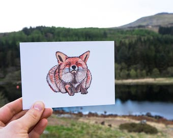 Red Fox Watercolour Illustration Print // A6 Print Postcard // Woodland Animals // Nursery Bedroom Decor // Animal Print
