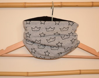 Neck circumference, snood, loop scarf grey child and baby crowns and stars black, black inner fleece