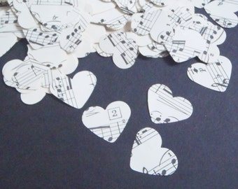 300 music vintage heart sheet music paper wedding confetti recycled upcycled baby shower party favor scrapbook garland decor lasoffittadiste