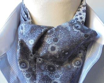 Cravat/Scrunchy/Necktie/Ascot. Dark grey print Liberty tana lawn cotton fabric. Reversible Cravat.