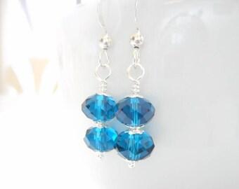 Dark Aqua Blue Czech Glass Earrings, Bright Blue Beaded Drop Earrings, Czech Glass Jewelry, Silver Dangle Earrings, Jewelry Gift for Her