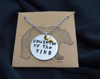 Daughter of the King Hand Stamped Necklace With Cross