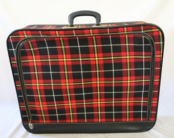 Large Vintage Red Plaid Suitcase 1960's  Luggage Mid Century Modern