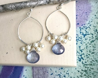 Purple quartz briolette with wire wrapped pearls, sterling silver hoop earrings boho everyday jewelry E227