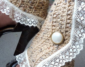 Victorian Style Leg Warmers - Crochet and Lace Spats in Tan - Steampunk Accessories - Lots of Colors