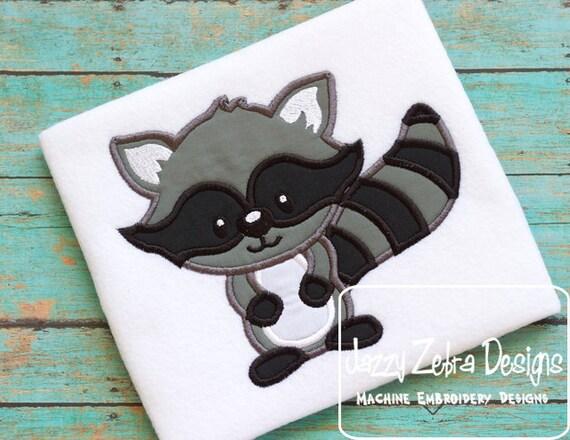 Raccoon Applique Embroidery Design - raccoon applique design - forest animal appliqué design