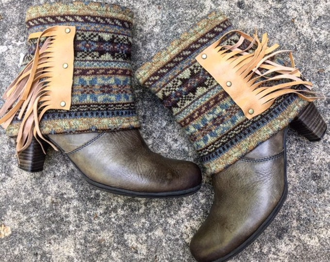 Fair Isle Boot Sweaters. Genuine Leather Fringe. Bohemian. Sold as a pair ~ Ready to Ship