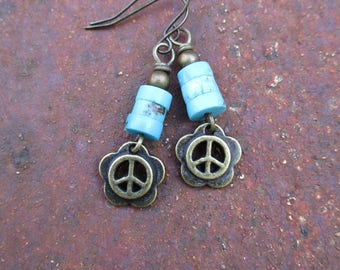 Peace Sign Charm and Turquoise Earrings - Flower Child Earrings - Turquoise Earrings