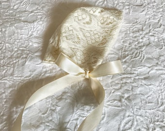 Ivory Lace bonnet with silky ties