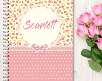 Personalised Notebooks, Personalised Notebook Gift, A5 Wire Bound, Choice of 3 pages, Pink  Flowers and Spots