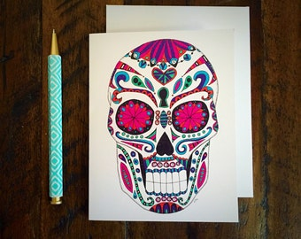 Sugar Skull Greeting Card / Halloween / Dia de los Muertos / October / Blank Card / Halloween Card / Skull Card / Stationary / Note Card