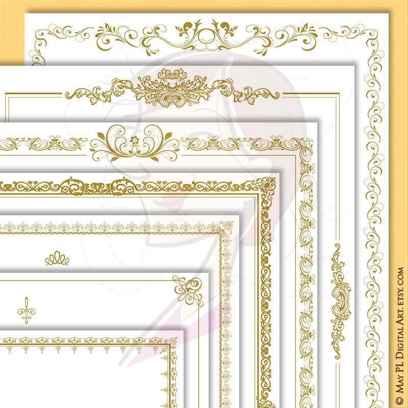 Antique Gold Frames Page Borders 8x11 Clipart Vintage French