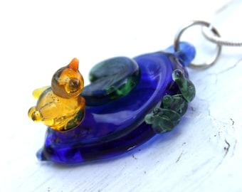 Glass Duck Pond Pendant,  Mini Garden Pendant,  Blown Glass Borosilicate,