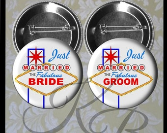 "Las Vegas Honeymoon Buttons, 2.25"" Just Married Pins, Las Vegas Wedding, Bride and Groom Pins, Las Vegas Bride and Groom, Wedding Keepsake"