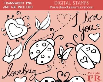 LOVEBUG - Digital Stamp Set. 15 images, 300 dpi. jpeg, png, abr files. Instant download.