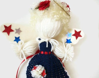 Red White and Blue Patriotic Angel Wall Hanging, Americana Decoration, Handmade Angel Wall Ornament