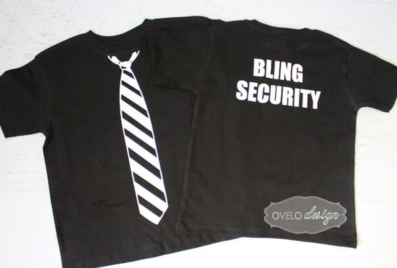 Bling Security Ring Bearer T-shirt on Back Tie on Front