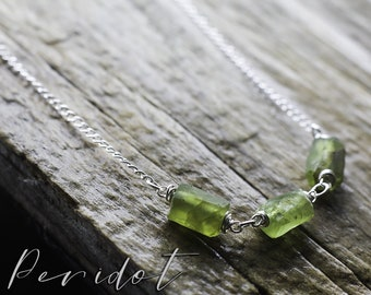 Sterling silver Peridot necklace | Raw Peridot bead necklace | Natural Peridot wirewrapped jewellery | Olive green real gemstone necklace