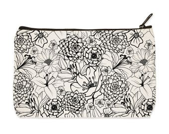 Floral Blooms Canvas Zip Pouch