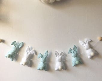 Garland rabbits mint tones and white