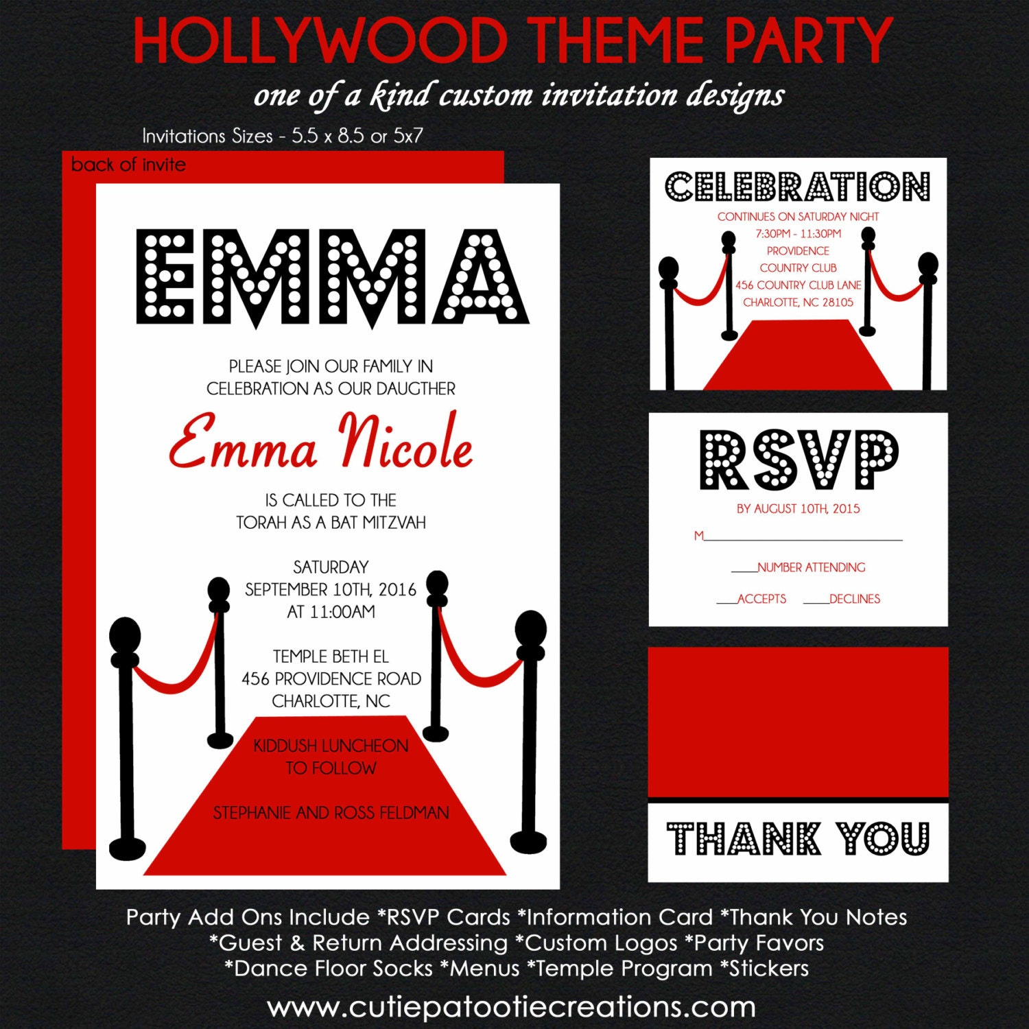 Hollywood Bat Mitzvah Invitation Red Carpet Event Rsvp