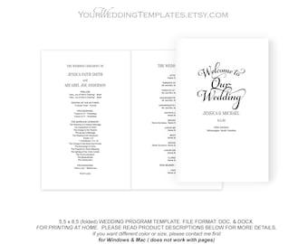 Wedding program template folded, printable wedding program, wedding program instant download, editable wedding program, DIY,FS