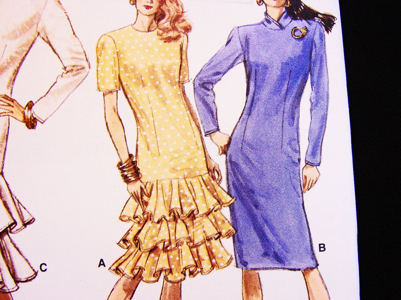 FÁCIL coser patrón gota cintura 80s volante falda bies cuello ...