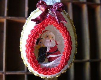 Blown Chicken Egg Santa Ornament