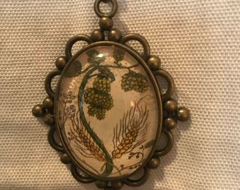 Char Oden Illustration Hops Barley Wheat Necklace Antique Brass Chain
