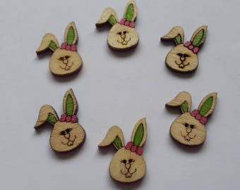 6 wooden painted rabbit color green buttons