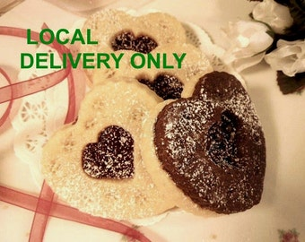 Heart Shaped Butter Sugar Cookie-Cocoa with Raspberry Jam Combo for LOCAL DELIVERY ONLY- for Her, Special Occasion, 1 doz- Wedding Favors