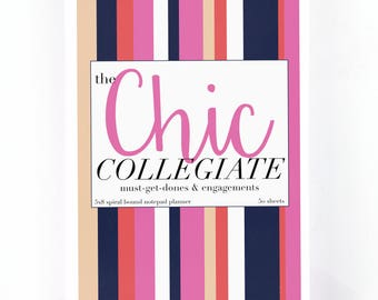 College Student Daily Planner Notebook | The Chic Collegiate | Graduation Gift | To Do List | 5x8 Spiral Bound