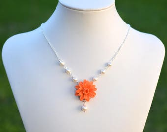 Orange Dahlia and Pearls  Necklace. Orange Dahlia Center Flower Necklace.