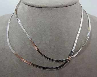 "30"" Long Sterling Silver 925 Serpentine Necklace Chain   PAB21"