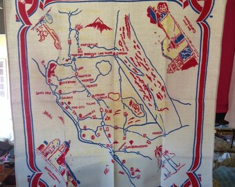 """Vintage 1950s Tablecloth, Cotton 35""""x 38"""", Map of California with Highways and Towns"""