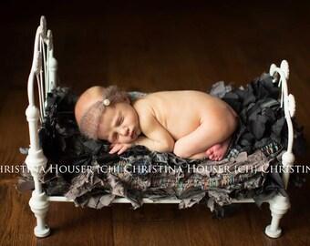 Toffee Brown Pearl Turban Mohair Headband Newborn Photography