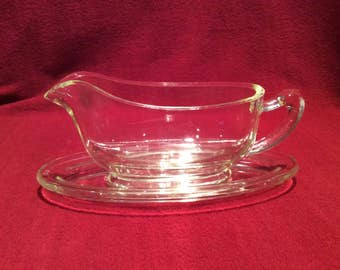 Pyrex Jobling Purser Clear Glass Gravy Boat and Saucer circa 1930