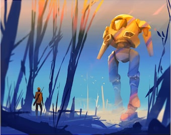 Walker and the Hunter, Giant Robot in the Trees of a Forest at Sunset Artwork, Walking Steel Giclee Print