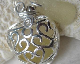 Sea Glass Necklace-Yellow Mermaids Tears Heart Locket-