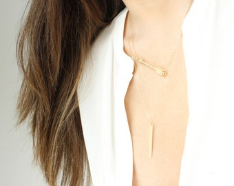 Gold Bar Necklace Vertical Bar Necklace Dainty Layering Necklace Long Bar Necklace Gold Filled Bar Skinny Bar Necklace Vertical Long Bar