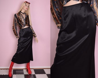 90s Black Maxi Skirt/ Small/ 1990s